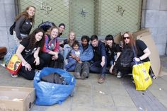 A team volunteering with a Homeless community in Brussels.