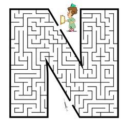Letter N Worksheets for Preschool and Kindergarten - Preschool and Kindergarten Preschool Worksheets, Preschool Activities, Letter N Worksheet, Mazes For Kids Printable, Free Printable, Letter Maze, Maze Puzzles, Teaching The Alphabet, Hidden Pictures