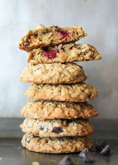 Oatmeal cookies packed with coconut and raspberries. These cookies are made with coconut oil and dark chocolate for a unique cookie combo.