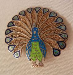 Beautiful Sterling Topazio Portugal Small enamel Peacock Brooch Near mint