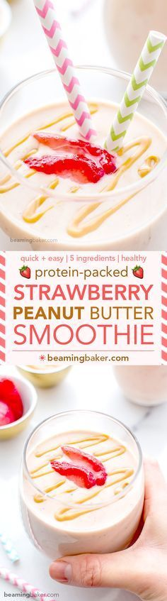 Protein-Packed Strawberry Peanut Butter Smoothie: 19g of protein, 5 simple ingredients in a quick recipe for a creamy, healthy and protein-rich smoothie. BEAMINGBAKER.COM #ProteinRich #Smoothies