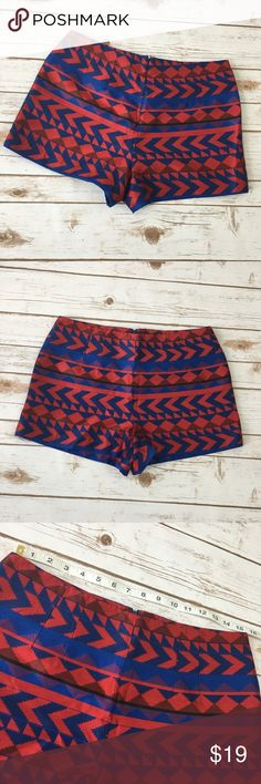 Love21 shorts size M Very cute multi color shorts by love 21, size M. Has a zipper on the back. Good condition. Please see photos for measurements. No trades. Shorts