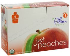 Plum Organics Baby Just Fruit, Peaches, 3.5-Ounce Pouches (Pack of 12) by Plum Organics, http://www.amazon.com/dp/B005LTHR7Y/ref=cm_sw_r_pi_dp_i0CJrb17XRVET