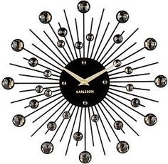 "Wanduhr ""Sunburst crystal"" in Schwarz - Ø 30 cm 3d Wall Clock, London Clock, Crystal Wall, Bude, Black Media, Black Gold, Black White, Crystals, Retro"