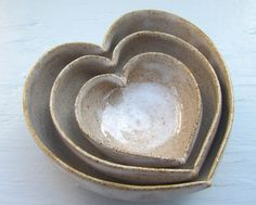 So sweet.   3 nesting white heart bowls filled with love in by JDWolfePottery, $30.00