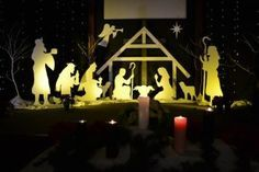 Nativity scene made from Styrofoam or cardboard. This would  make a pretty back drop for any Christmas program