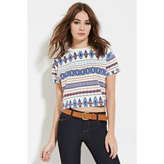Forever 21 Women's  Tribal-Inspired Print Tee ($13) ❤ liked on Polyvore featuring tops, t-shirts, tribal top, tribal tees, white round neck t shirt, boxy top and white boxy tee