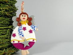 Angel Ornament Decor, Christmas Tree Ornament, Fushia and Blue Angel with Silver Star, Baby Girl Decoration