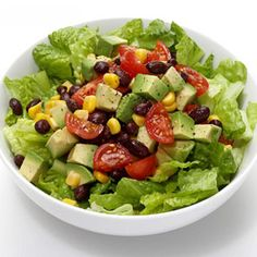 Fiesta Bowl Salad -- 2 cups romaine, 1/4 each canned black beans, chopped avocado, canned corn, chopped cherry tomatoes, juice of 1/2 fresh lime, s&p