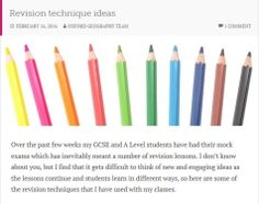 Geography teacher Rachel Hawke, shares some of her revision technique ideas Revision Techniques, Exam Revision, Student Learning, Geography, Teacher, Education, Blog, Ideas, Professor