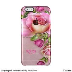 Elegant pink roses initials uncommon clearly™ deflector iPhone 6 case