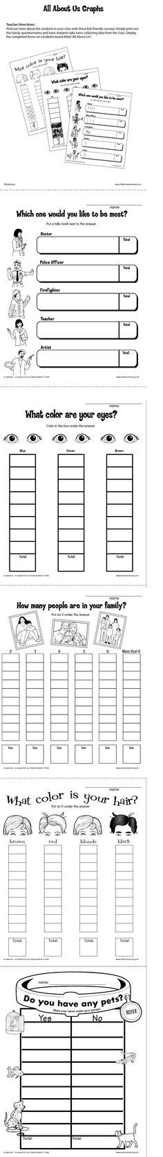 All About Us Graphs from Lakeshore Learning: Find out more about the children in your class with these kid-friendly surveys!