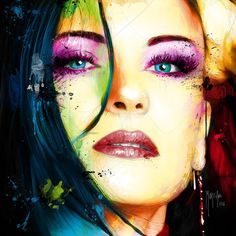 Monica by Patrice Murciano Art, Patrice Murciano, Abstract Face Art, Street Art, France Art, Artsy Photos, Portraits, Mural Painting, Drawing Techniques