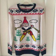 Elf Christmas sweater Skiing elf with Pom Pom hat Sweaters