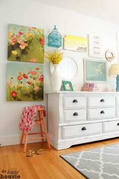 Mint Master Bedroom Paint Revamp at the happy house. Master bedroom still needs paint! White Distressed Dresser, White Furniture, Furniture Design, Master Bedroom, Bedroom Decor, Bedroom Furniture, Shabby Bedroom, Pretty Bedroom, Painting Furniture