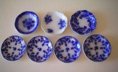 Antique English Flow Blue Butter Pat Plates