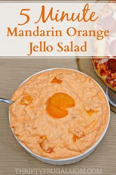 Creamy 5 Minute Mandarin Orange Jello Salad is such a light refreshing side dish or dessert. And it's so easy to make too- all you need is 5 minutes! Jello Fruit Salads, Orange Jello Salads, Dessert Salads, Fruit Salad Recipes, Fruit Snacks, Creamy Fruit Salads, Fruit Salsa, Jello Recipes, Dessert Recipes