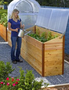 Our Vermont-made Cedar Cold Frame on a 2' x 8' Elevated Raised Bed. The narrow footprint makes it ideal for small spaces.