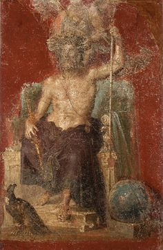 Beauty,humor, and Creativity — flyingfishhhhh: Jupiter in a wall painting. Ancient Greek City, Ancient Rome, Ancient Art, Classical Antiquity, Classical Art, Roman History, Art History, Hellenistic Art, Fresco