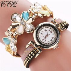 CCQ 2016 Fashion Flower Bracelet Watches Casual Women Wristwatch Luxury Quartz Watch Relogio Feminino Gift Drop Shipping C41