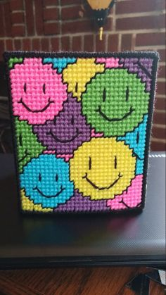 Happy Faces bright tissue box cover by CunninghamCrafts on Etsy Plastic Canvas Coasters, Plastic Canvas Stitches, Plastic Canvas Tissue Boxes, Plastic Canvas Crafts, Plastic Canvas Patterns, Cross Stitch Borders, Cross Stitch Alphabet, Cross Stitch Patterns, Yarn Monsters