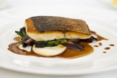 Sea Bass with Chicory and Sprouting, Red Wine Sauce