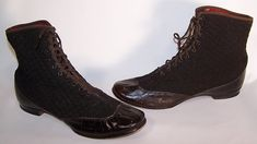 This pair of antique Victorian Civil War era black leather quilted wool winter high top lace-up boots date from the 1860s. They are made of a black wool quilted stitched fabric, with a black patent leather toe and heel trim.