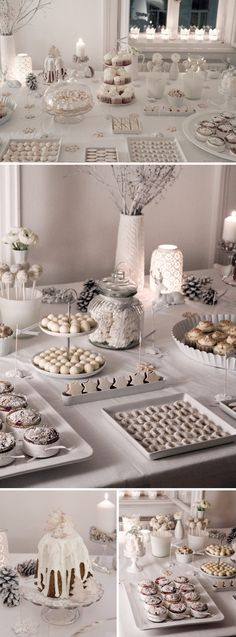 Love this white color theme candy bar, add with a dash of yellow and green will be perfect~