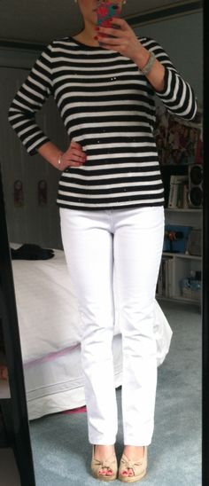 Talbots Sequin Stripe Tee, Talbots Slimming Colored Jeans in White, Talbots peep-toe sling-back espadrilles (summer 2012)