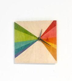 Wooden Wall Clock Natural Wood Wall Clocks Geometric Square