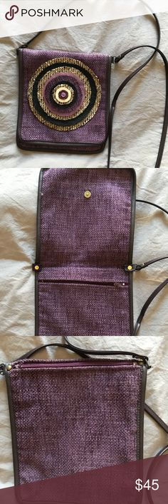 "Crossbody women's velvet bag - Handmade Handmade New Color: Purple Velvet Crossbody Evil eye details in the middle  Zipper inside and back Flat Length: 9"" Width: 8"" Strap length: 52,5"" Strap color: Deep Brown  Faux leather binding all around the bag and the strap Bags Crossbody Bags"