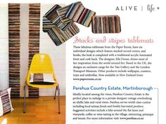 ALIVE magazine summer edition, Stacks and Stripes wallpaper, cushions and coasters by Ella Doran