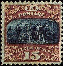 Designed in blue and brown, the stamp features an unusual double-printed vignette, with both normal and inverted printing applied. The Landing of Columbus has a G grill common for the 1869 pictorial issue and is available with double grill and split grill. Over a century ago, the Landing of Columbus is a copy of a famous painting by John Vanderlyn that depicts the historical arrival of the Italian expedition to the shores of the New World. People could buy it for just 15 cents. Nowadays, an…