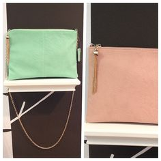 Available in mint and blush! #leatherclutch #trunk13 #savannah