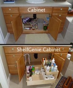 The recipe for turning this cabinet into a ShelfGenie cabinet: add one pull out towel bar, one pull out shelf, one riser shelf, and enjoy!
