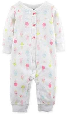 Carter s carter s Newborn Jellyfish Footless Snap Coveralls in White   babygirl dfda658395