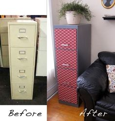 Before & After:  Anne's File Cabinet Makeover. Not ME Anne, but someone in Chicago. Now I know what I will do with my daughters closet!