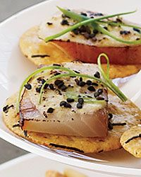 Miso-Glazed Smoked Sable on Rice Crackers - Updated Dishes for a Feast of the Seven Fishes Party on Food & Wine Fish Recipes, Seafood Recipes, Christmas Dinners, Christmas Eve, Yummy Appetizers, Appetizer Recipes, Rice Cracker Recipe, Nye Ideas