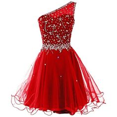 Dresstells Women's One Shoulder Prom Dresses Homecoming Dress with... ($50) ❤ liked on Polyvore featuring dresses, abiti, lullabies, red, beaded dress, red dress, one shoulder dress, homecoming dresses and red cocktail dress