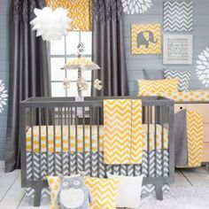 Glenna Jean Swizzle Crib Bedding Collection in Yellow - BedBathandBeyond.com. Yellow or aqua blue??