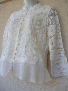 LACE BLOUSE Coldwater Creek Cream Fitted Sheer Button Down Top Shirt XS Bust 36