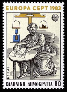 GREECE Issued April 1983 Scott Catalog Number 1460 One of a set of two in the 1983 Europa series The illustration of Archimedes is adapted from a Renaissance mosaic depicting his death. His head, however, is from the bust used in the Italian stamp above. Old Stamps, Vintage Stamps, Art Of Memory, Postage Stamp Art, Mail Art, Stamp Collecting, Vintage Posters, Greece, The Incredibles