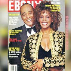 Beautiful Whitney Houston and father, John Houston, on the cover of Ebony Magazine!
