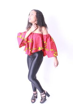 Off Shoulder Blouse/Top Ankara African Print door RocksonClothing