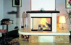 wood fireplace / traditional / closed hearth / floor-mounted