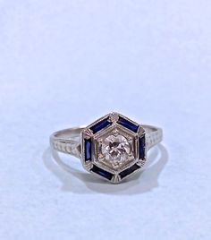 Vintage engagement ring, sapphire baguette halo« Weddingbee Boards