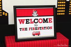 Firefighter Birthday Party - Welcome Sign Printable Design by leelaaloo.com ||  #diy #party #LeeLaaLoo 2nd Birthday Party Themes, Baby 1st Birthday, Birthday Ideas, Fireman Party, Firefighter Birthday, Fireman Sam Cake, Party Ideas, Theme Ideas, Diy Party