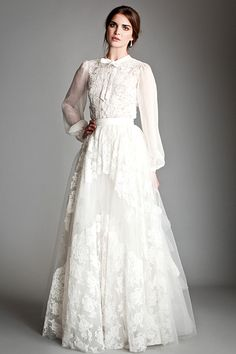 Temperley London: Corded French lace and silk chiffon blouse and tiered tulle skirt