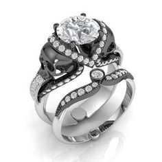 Mens Skull Wedding Ring White Gold Grooms By Kipkalinkajewels Rings Pinterest And