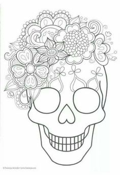 Sugar skull coloring page. Would be pretty to embroider Day Of The Dead Party, Day Of The Dead Skull, Day Of The Dead Drawing, Skull Coloring Pages, Coloring Book Pages, Fall Halloween, Halloween Crafts, Manualidades Halloween, Halloween Stuff